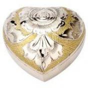 Herz - Gold-/silberfarben mit Blumengravur