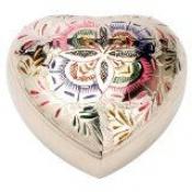 Herz  - Vielfarbig mit Blumengravur